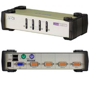 Aten 4 Port USB & PS/2 VGA KVM Switch, Video DynaSync, mouse and keyboard emulation, 4 VGA USB and PS/2 KVM Cables included