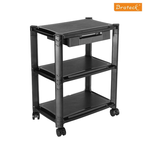 Brateck Height-Adjustable Modular Multi Purpose Smart Cart XL with Three-Tier and Drawer 13''-32'' Monitors Weight Capacity 10kg per layer