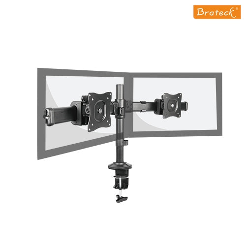 Brateck Dual Monitor Arm with Desk Clamp VESA 75/100mm 13'-27' monitors,Weight capability 8kgs,Rotate for 360&deg