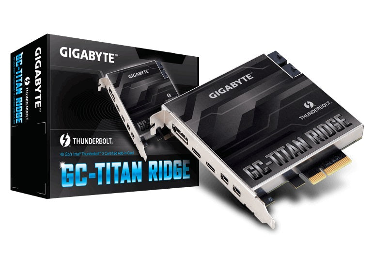Gigabyte TITAN Ridge rev1 Dual Thunderbolt 3 Card for Z390 H370 B360 Z370 Series 3 Ports USB-C 40 Gb/s DisplayPort 1.2 4K Daisy-chain up to 12 Devices