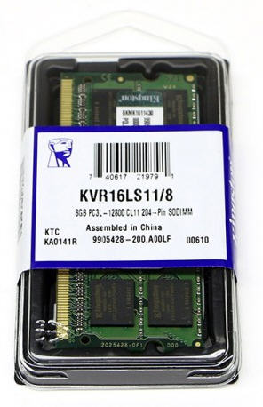 Kingston 8GB (1x8GB) DDR3L SODIMM 1600MHz 1.35V / 1.5V Dual Voltage ValueRAM Single Stick Notebook Memory