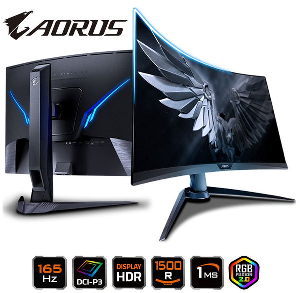 Gigabyte AORUS CV27F 27' Curve Tactical Gaming Monitor FHD 165Hz 1ms AMD FreeSync 1500R DCI-P3 HDR RGB 8bits Tilt Swivel Height Adjust HDMI DP USB VES