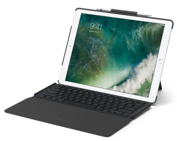 Logitech Slim Combo 12.9' iPad Pro Case Cover with Detachable Fullsize Backlit Keyboard Smart Connector Foldable Palm Rest Multiples iOS Shortcuts (LS