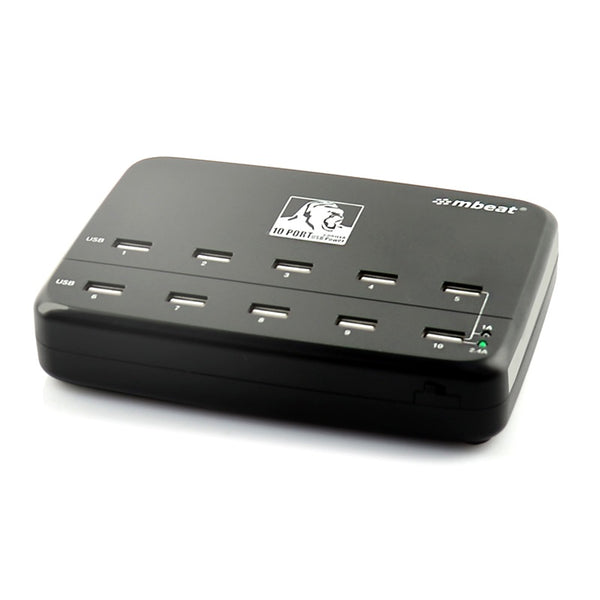 mbeat® Gorilla Power 10-Port Powered 60W USB Charging Station - 10x USB/ Ideal for Smart Phones and Devices