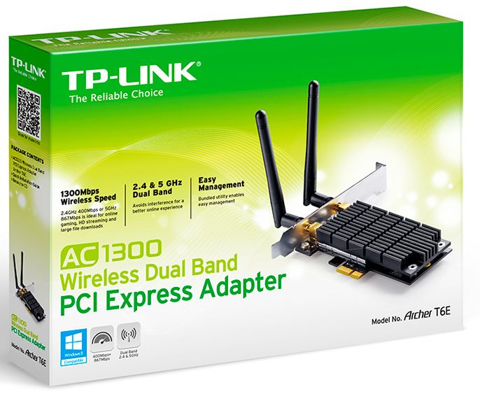 TP-Link Archer T6E AC1300 Wireless Dual Band PCI Express Adapter 1300Mbps 5GHz (867Mbps) 2.4GHz (400Mbps) 802.11ac 2x External Antennas ~TL-WDN4800