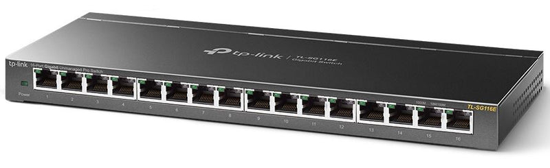 TP-Link TL-SG116E 16-Port Gigabit Unmanaged Pro Switch Desktop/Wall Mounting L2 Features 32xVLAN 32Gbps Capacity 23.81Mpps 8K MAC 4.1Mb Buffer Fanless
