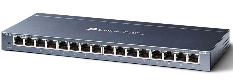 TP-Link TL-SG116 16-Port Gigabit Unmanaged Desktop/Wall Mounting Switch 32Gbps Capacity 23.81Mpps 8K MAC 4.1Mb Buffer Fanless