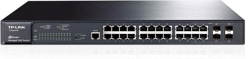 TP-Link T2600G-28MPS (TL-SG3424P) JetStream 24-Port Gigabit L2+ Managed PoE+ Switch with 4 Combo SFP Slots 384W 56Gbps Switching 41.7Mpps Forward Rate