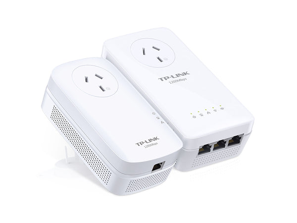 TP-Link TL-WPA8630P-KIT AV1200 1200Mbps Wi-Fi Passthrough Range Extender Powerline 3x1Gbps LAN 300m Range HomePlug AV2 2X2 MIMO Wi-Fi Clone Button