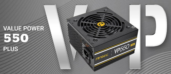 Antec VP550P PLUS 500w PSU. 80+ @ 85% Efficiency AC120-240V, Continuous Power, 120mm Silent Fan. 3 Years Warranty