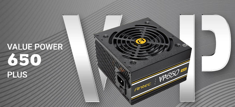 Antec VP650P PLUS 500w PSU. 80+ @ 85% Efficiency AC120-240V, Continuous Power, 120mm Silent Fan. 3 Years Warranty