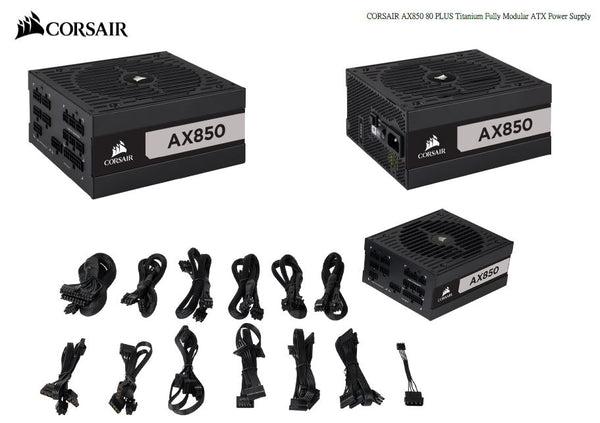 Corsair 850W AX Series 80 PLUS Titanium Fully Modular ATX Power Supply 10 Years Warranty