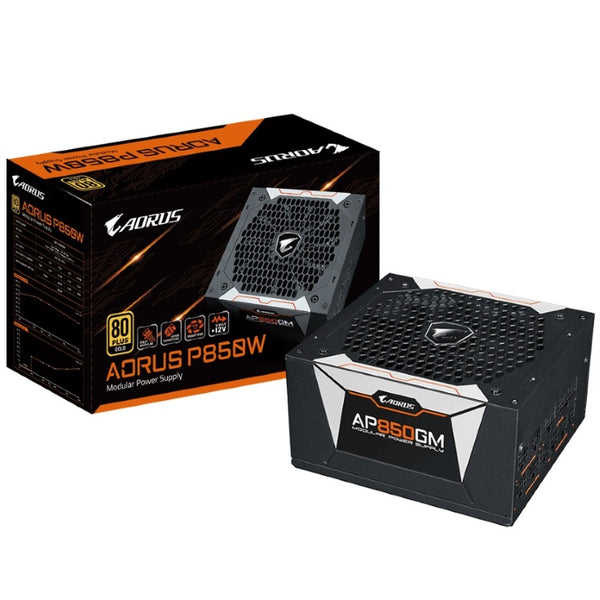 Gigabyte AP850GM AORUS 850W ATX PSU Power Supply 80+ Gold >90% Modular 135mm Fan Black Flat Cables Single +12V Rail Japanese Capacitors >100K Hrs~900W