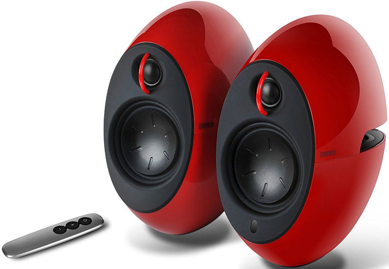 Edifier E25HD LUNA HD Bluetooth Speakers Red - BT 4.0/3.5mm AUX/Optical DSP/ 74W Speakers/ Curved design/Dual 2x3 Passive Bass/Wireless Remote