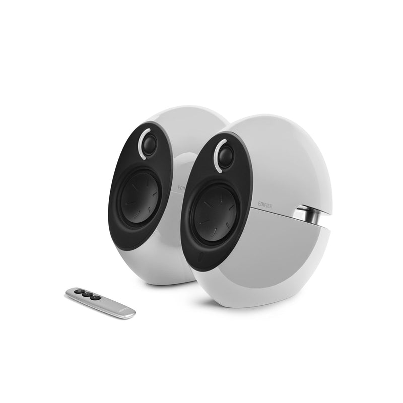 Edifier E25HD LUNA HD Bluetooth Speakers White - BT 4.0/3.5mm AUX/Optical DSP/ 74W Speakers/ Curved design/Dual 2x3 Passive Bass/Wireless Remote