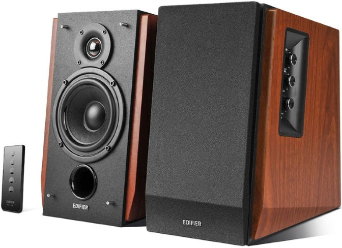 Edifier R1700BT Bluetooth Lifestyle Bookshelf Studio Speakers Brown - BT/Dual 3.5mm AUX/Limited Distortion DSP/DRC/Classic Wood Finish/Wireless Remote