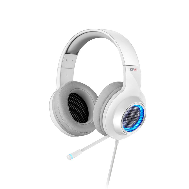 Edifier V4 (G4) 7.1 Virtual Surround Sound USB Gaming Headset White - V7.1 Surround Sound/ Retractable Mic/LED Lights Mesh/USB/Gaming/PC/Laptop