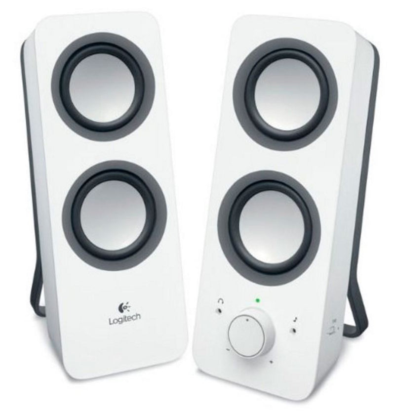 Logitech Z200 Multimedia Speakers Snow White 10W RMS 3.5mm Jack Volume Bass Power Control Node 2yr Wty