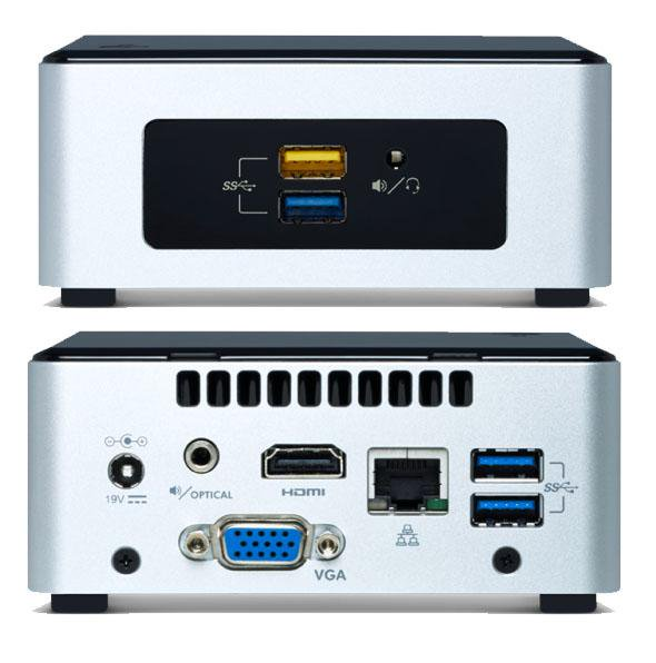 Intel NUC mini PC Pentium N3700 QC 2.4GHz DDR3L 2.5' HDD VGA HDMI GbE LAN WiFi BT 4xUSB3.0 2xUSB2.0 Support Win 7 8 10 ~SYI-BOXNUC7PJYH4