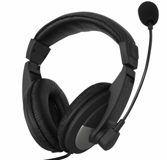 Stereo Headset with Mic Black 3.5mm (USB Adapter included)