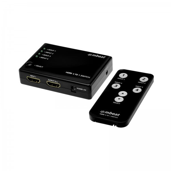 mbeat Mini 4-Port HDMI Powered Switch with Remote - Connect to Multiple HDMI devices/HD Gaming Consoles/Bluray Players/DVD Platers/HD set top box