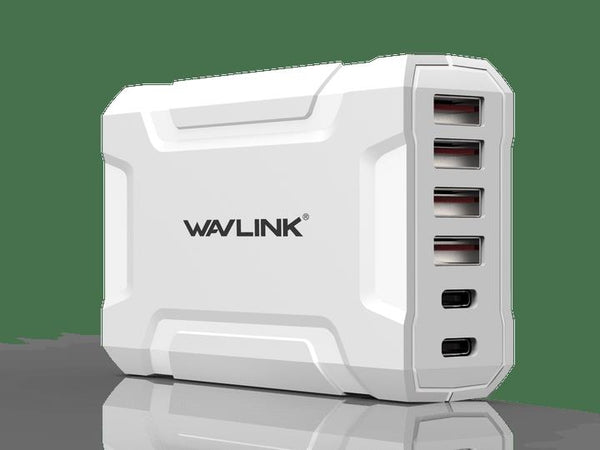Wavlink USB3.0 with Dual Type-C 6 ports 60W Rugged Smart USB Charger (LS)