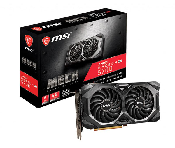 MSI AMD Radeon RX 5700 MECH OC 8GB GDDR6 PCIe 4.0 Graphic Card 7680x4320 4xDisplays 3xDP HDMI 1750/1515 MHz Torx fan 3.0 Crossfire 2-way