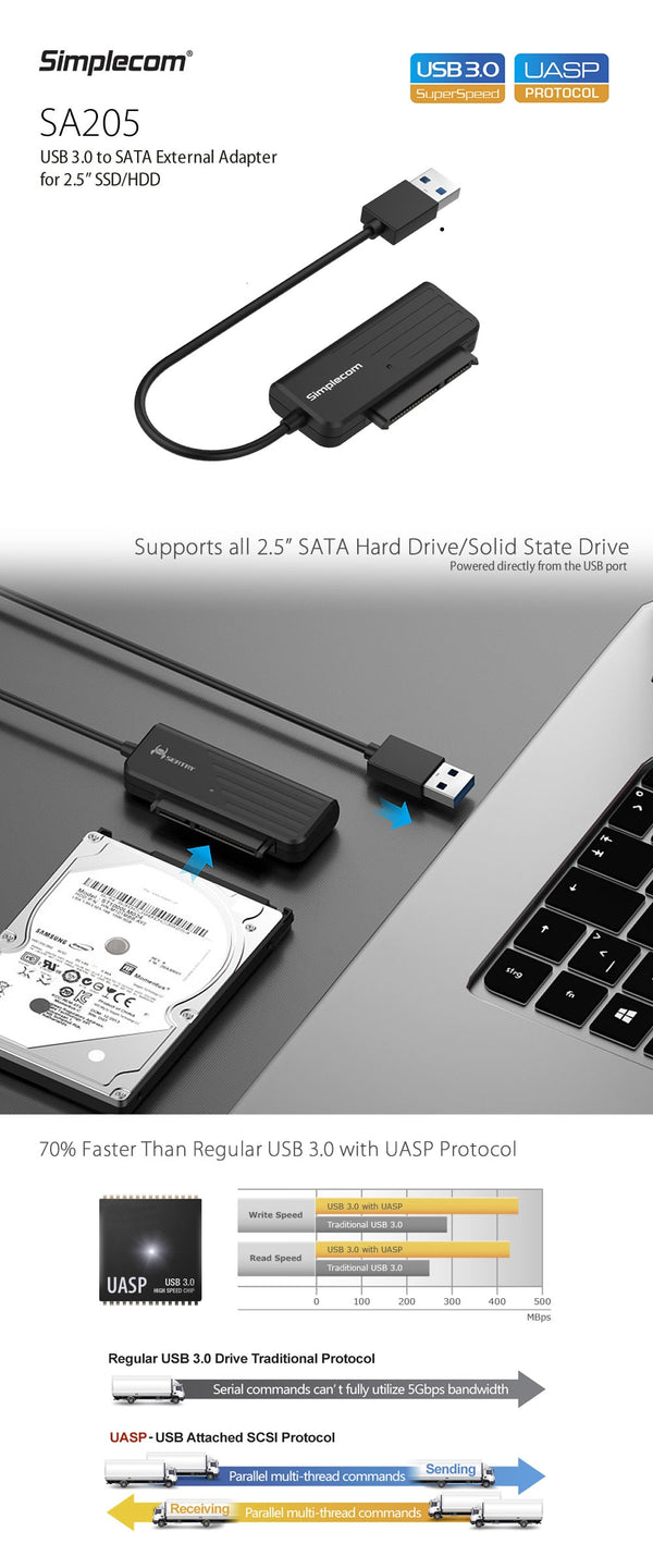 "Simplecom SA205 Compact USB 3.0 to SATA Adapter Cable Converter for 2.5"" SSD/HDD"