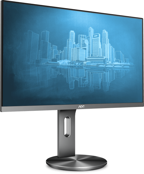 "AOC 23.8"" I2490PXQU IPS 5ms Full HD Frameless Business Monitor w/HAS Pivot 90 degrees - VGA/HDMI/DP Speaker VESA100mm USB3 Height Adjustable"