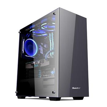 Huntkey GX600H ATX Case with Tempered Glass Side Panel, Aluminium Front Panel