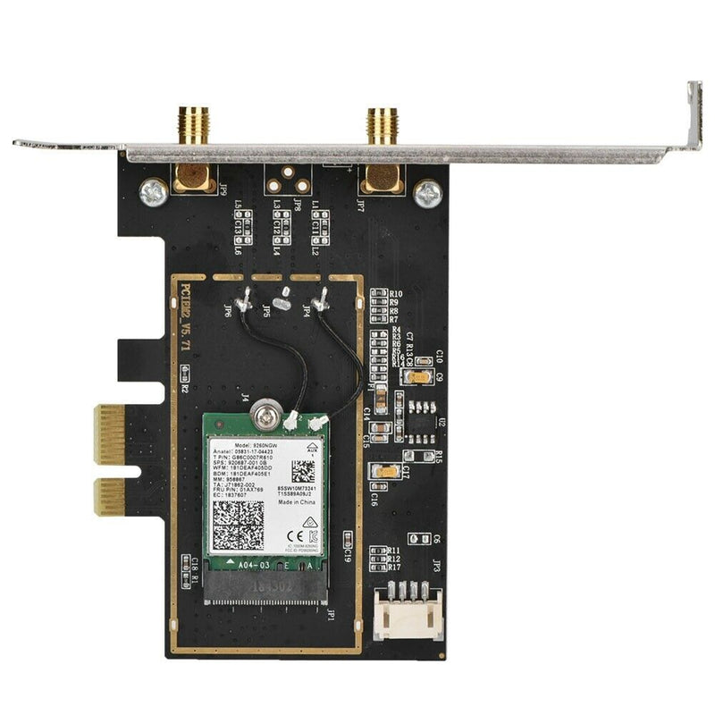 Intel Dual Band M.2 Wireless-AC 9260ac Card, AC1730/Bluetooth 5.0 (PCI-E Adapter Card, Low Profile Bracket & Antenna included)
