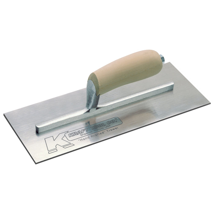 "11-1-2""x 4-1-2"" Swedish Stainless Steel Plaster Trowel with Camel Back Wood Handle - 9-5-8"" Shank"