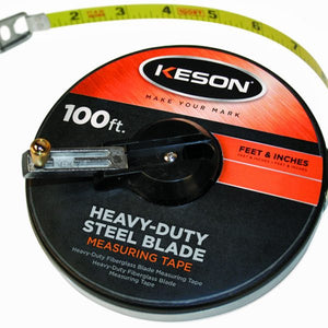 Keson ST5010 50' Ft, 1-10, 1-100 Painted Steel Tape Closed Case W-Hook