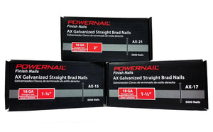 "Powernail AX-17 1-1-2"" 18GA. Brad Nail Straight (5,000-Box)"
