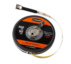 Keson MC10M100 100 Ft. Ft, In, 1-8 & 30M Fiberglass Tape Measure Closed Case
