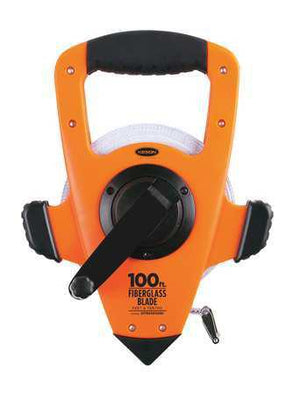 Keson OTRS10100H 100 Ft. Ft, 1-10, 1-10 Fiberglass Tape Measure With Hook 3X1 Rewind