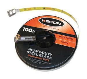 Keson ST10018M 100' Ft, In, 1-8 And Metric Painted Steel Tape Closed Case W-Hook