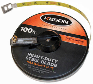 Keson ST10018 100' Ft, In, 1-8 Painted Steel Tape Closed Case W-Hook