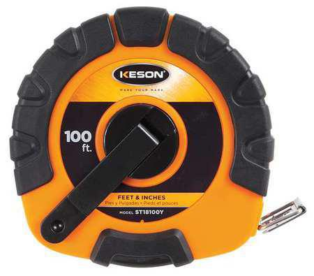 Keson ST18100Y 100 Ft. Ft, In, 1-8 Nylon Coated Steel Tape With Hook