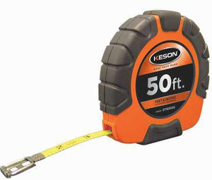 Keson ST18503X 50 Ft. Ft, In, 1-8 Nylon Coated Steel Tape With Hook 3X1 Rewind