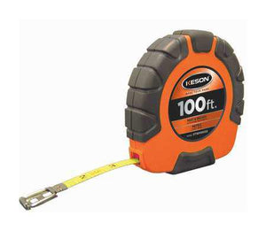 Keson ST18M1003X 100 Ft. Ft, In, 1-8 And Metric Nylon Coated Steel Tape With Hook 3X1 Rewind
