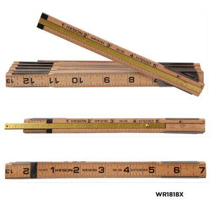 Keson WR1818X 6 Ft Folding Wood Rule ft, in & ft, in with 6 inch extender