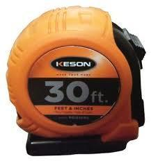 Keson PG1830RG 30' x 1 inch Measuring Tape FT, 1-8, 1-16 Rubber Grip