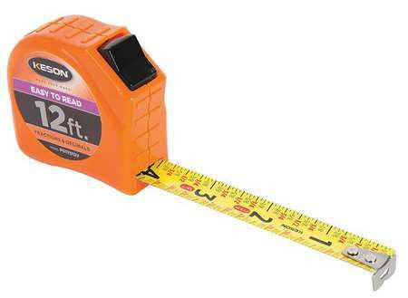 Keson PGTFD12V 12' x 5-8 inch Measuring Tape FT, 1-8, 1-16 & Fractional Decimal