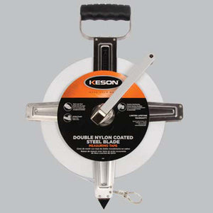 Keson SNR10100H 100 Ft. Ft, 1-10, 1-100 Double Nylon Coated Steel Tape With Hook  Stainless Steel Housing