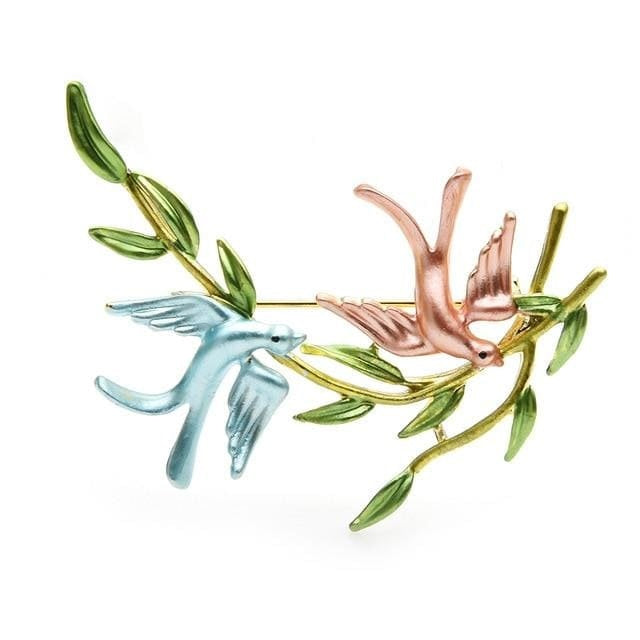 Birds Couple Brooch - Blue and Pink | Brooch Paradise