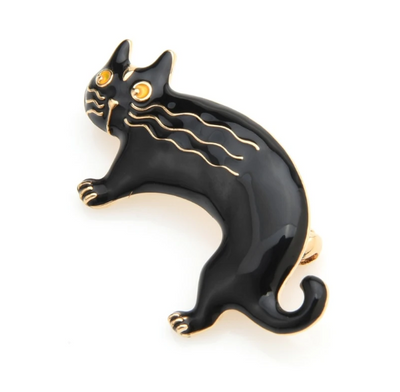 Black and Gold Cat Brooch | Brooch Paradise