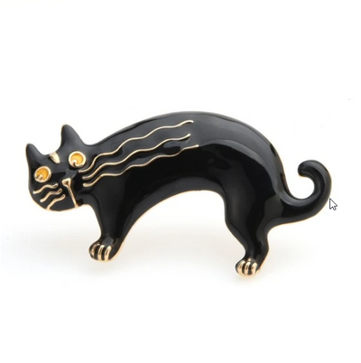 Black and Gold - Cat Brooch Pin | Brooch Paradise