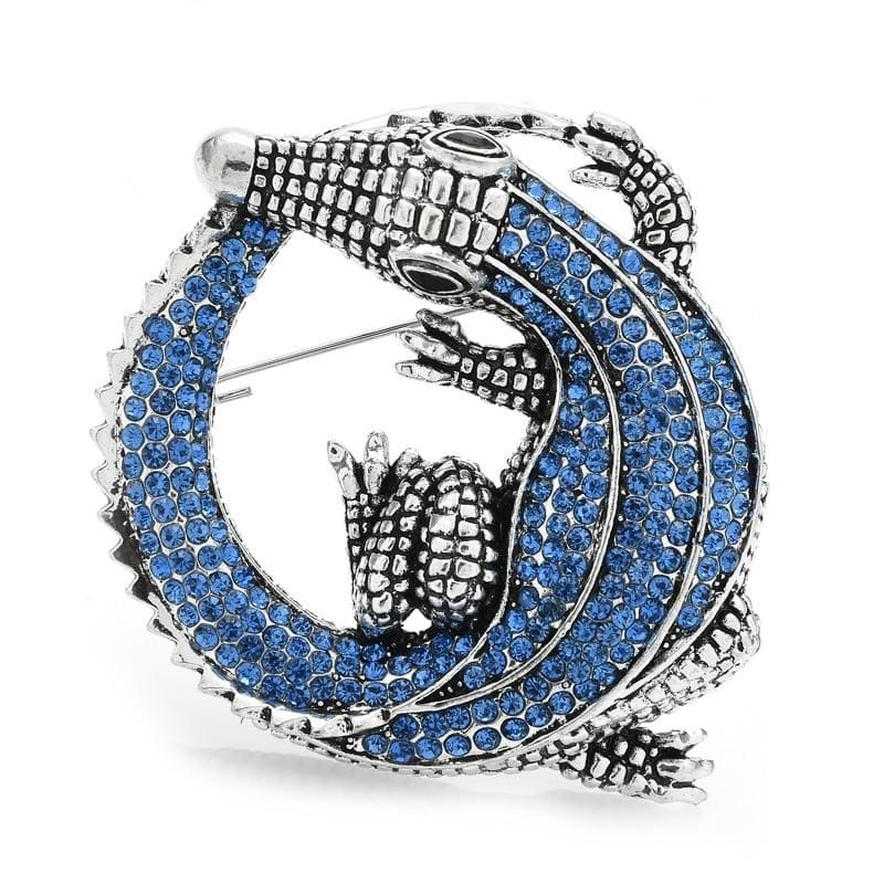Blue Crocodile Brooch | Brooch Paradise
