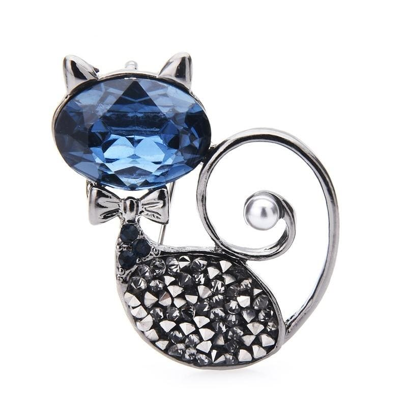 Blue Crystal Cat Brooch | Brooch Paradise